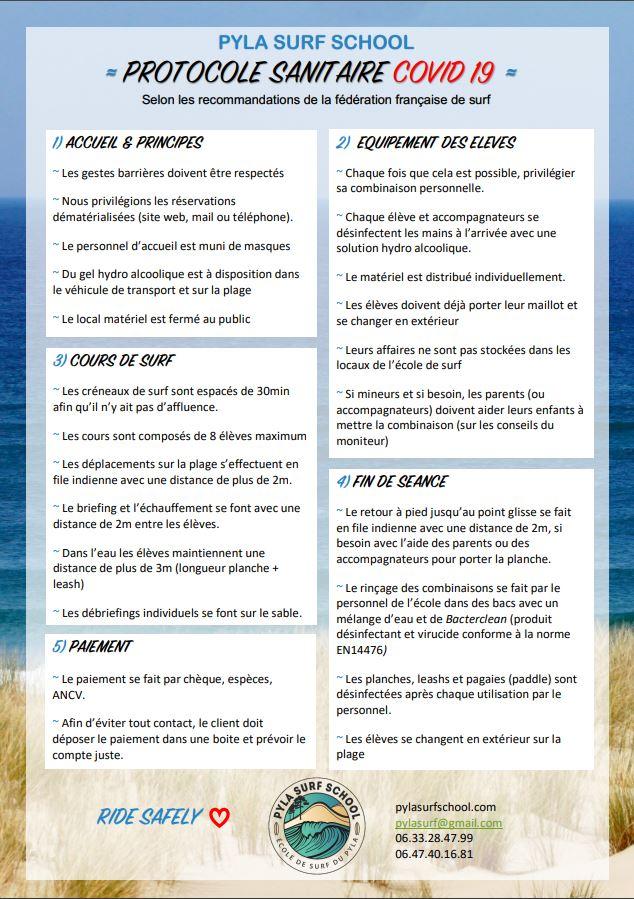 Pyla surf school protocole sanitaire covid-19